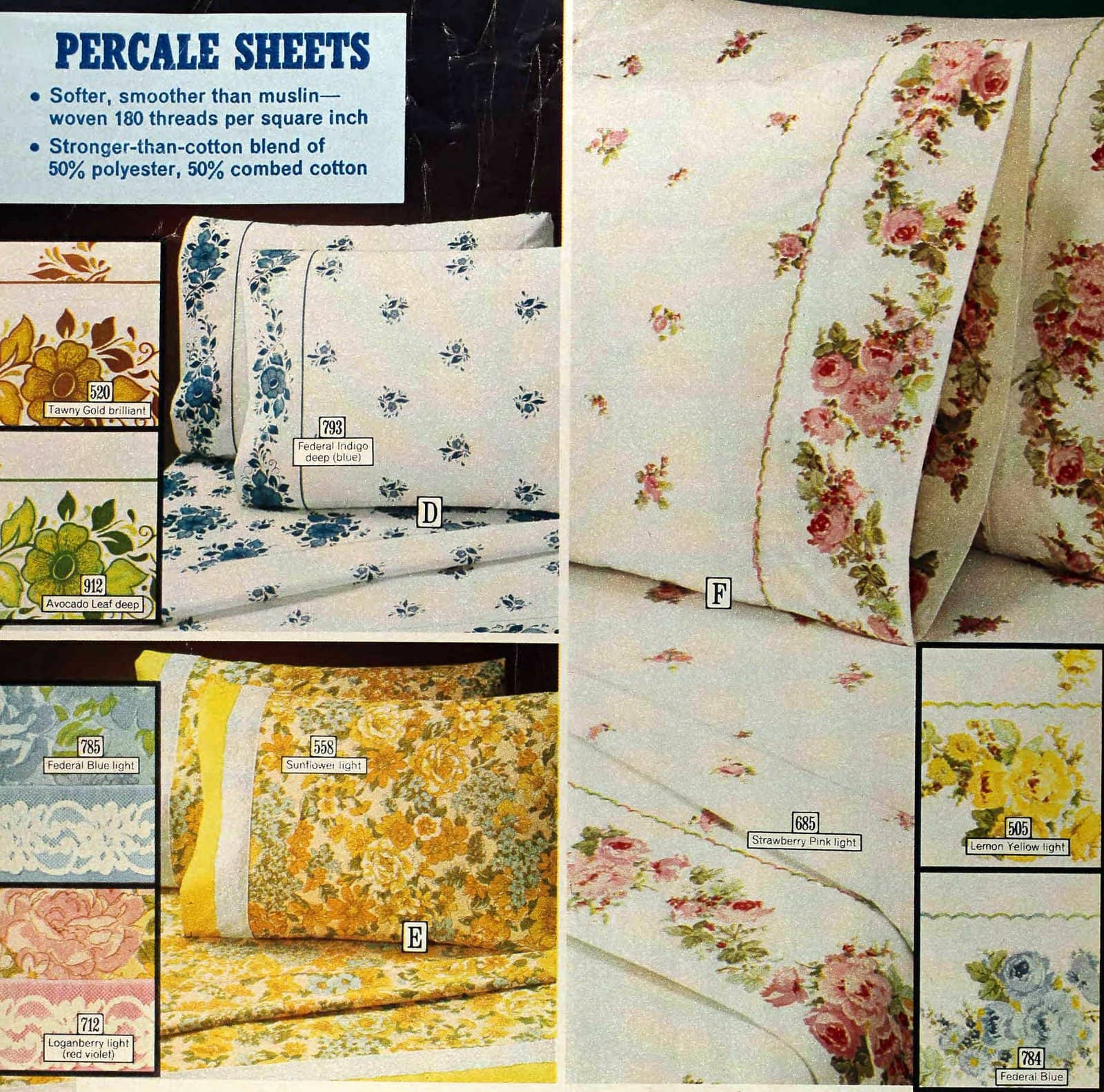 Vintage 1970s percale sheets with classic floral designs