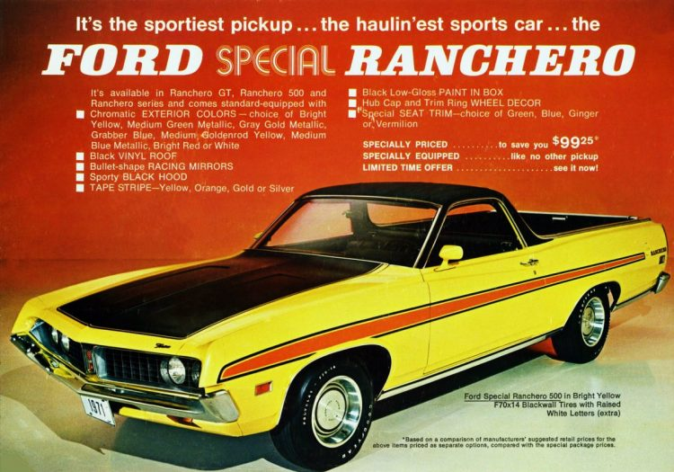 Vintage 1971 Ford Special Ranchero 500 in bright yellow