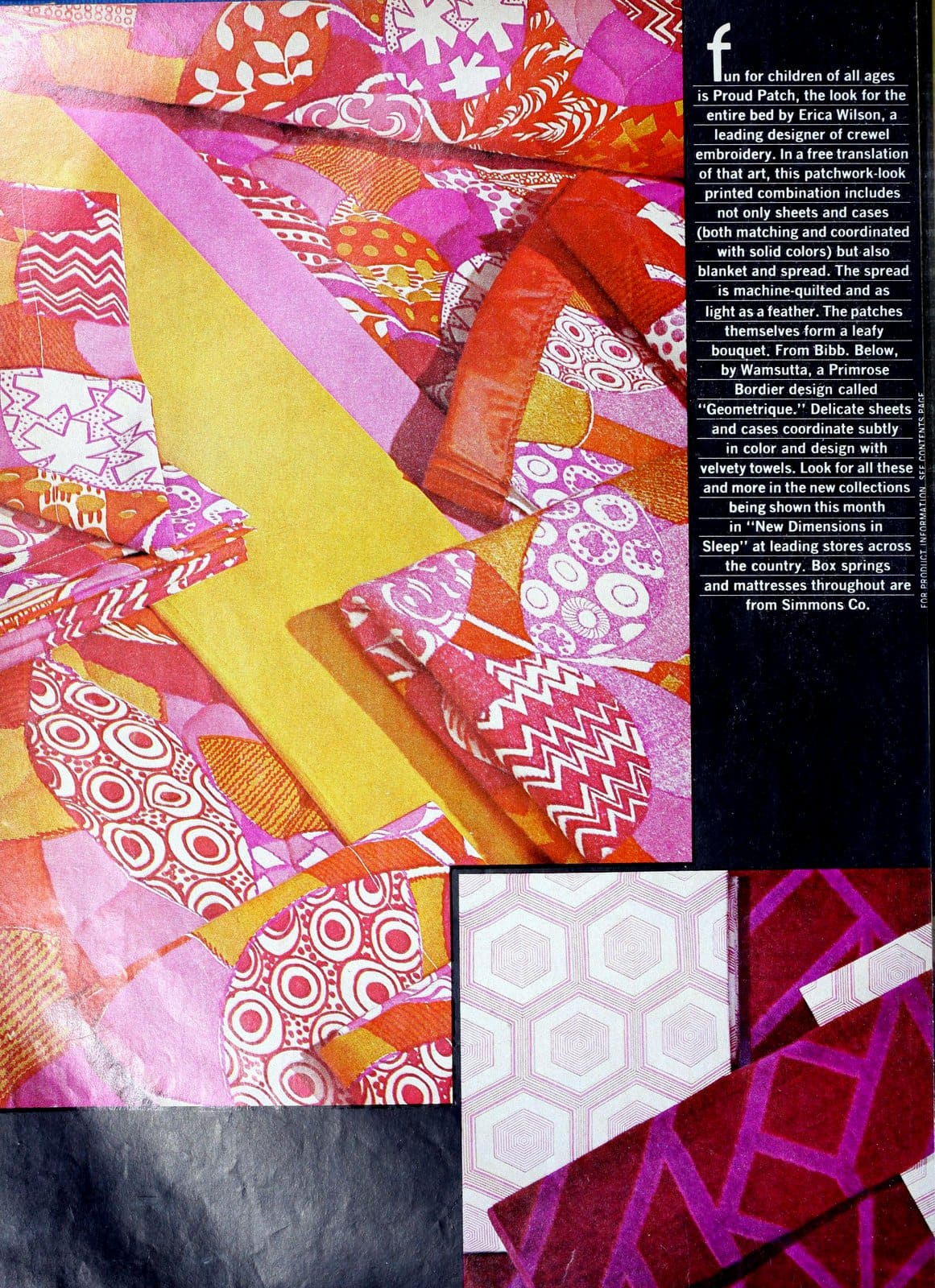 Vintage 1972 patchwork-look sheet sets and bedding with a retro geometric print