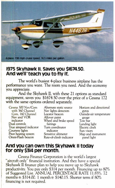 Vintage 1975 Cessna Skyhawk II airplane