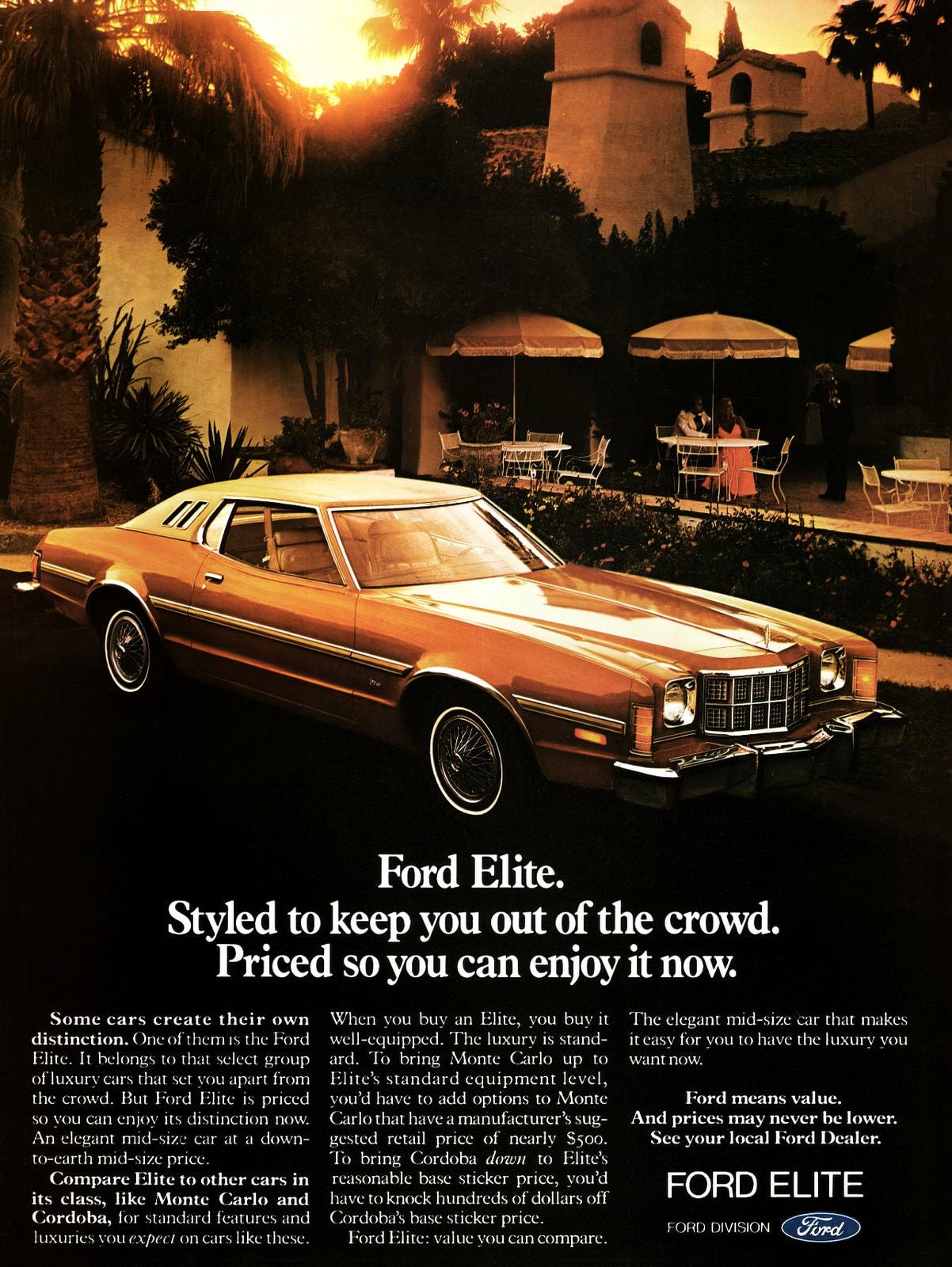 Vintage 1975 Ford Elite cars