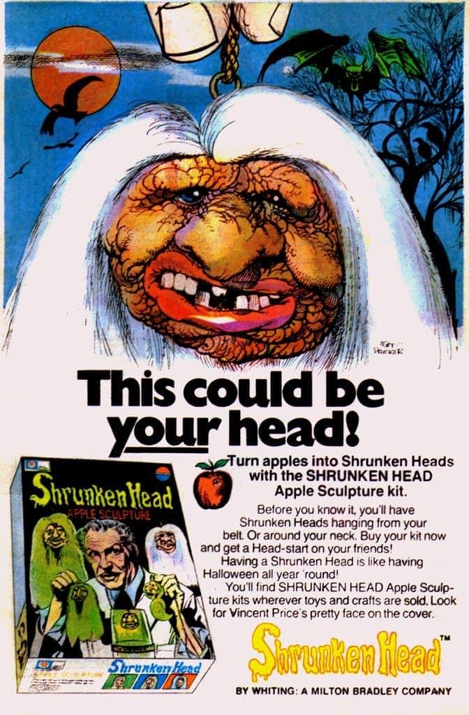 Vintage 1975 ad for Vincent Price Shrunken Head Apple Sculpture Kit by Milton Bradley