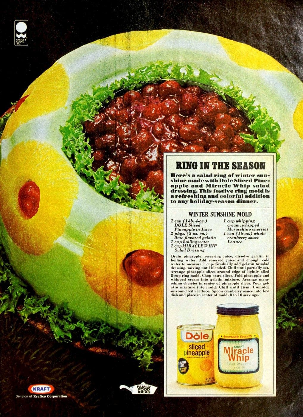 Vintage 1976 Winter Sunshine Mold with pineapple miracle whip gelatin and cranberry sauce recipe