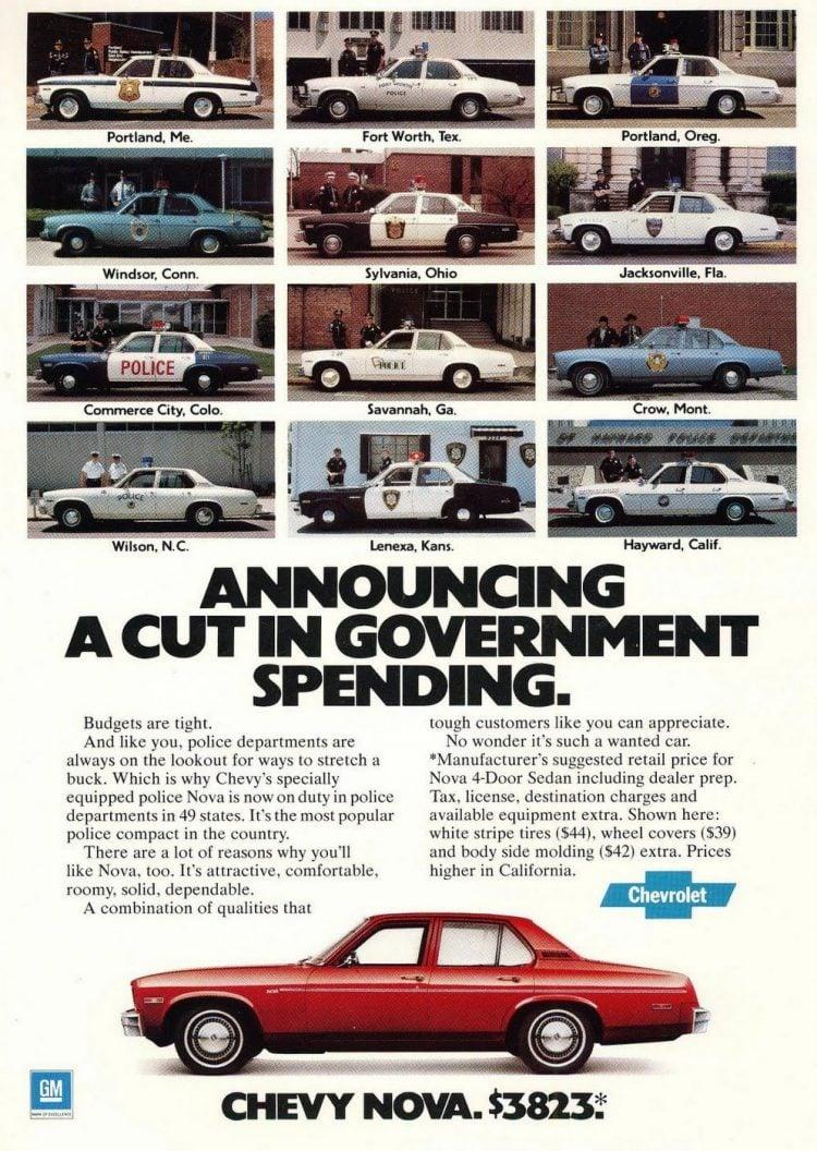 Vintage 1977 Chevy Nova ad - Police cars