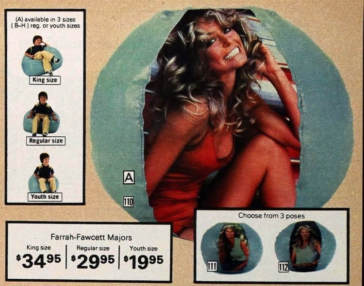 Vintage 1978 Farrah Fawcett pinup bean bags