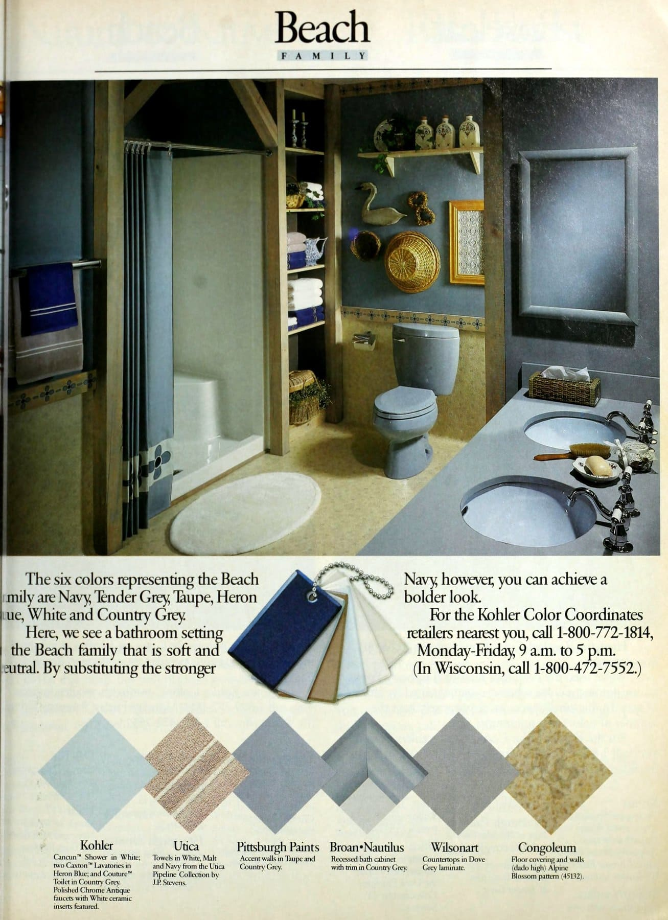 Vintage 1980s Beach blue bathroom color scheme (1986)