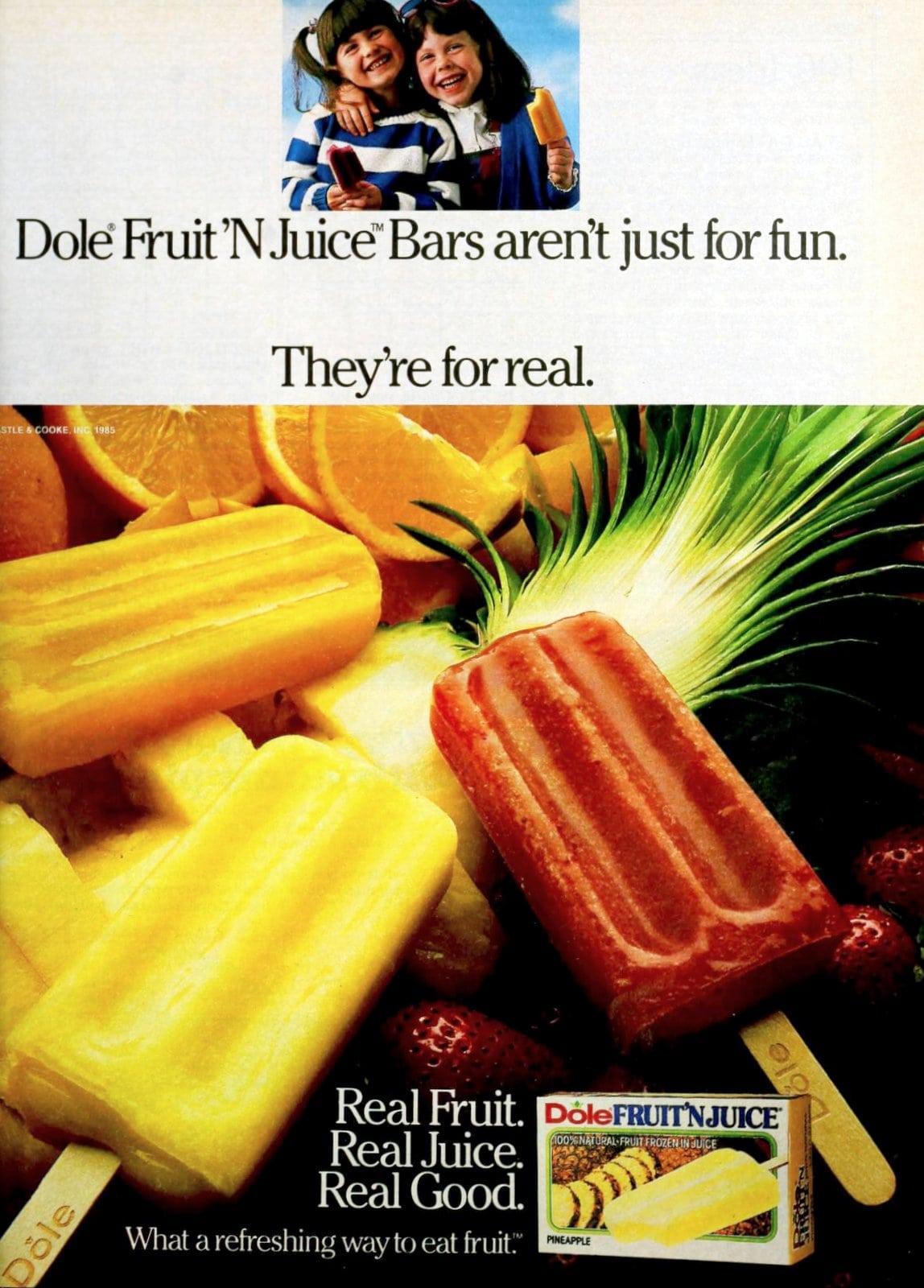 Vintage 1980s Dole frozen fruit pop flavors from 1985