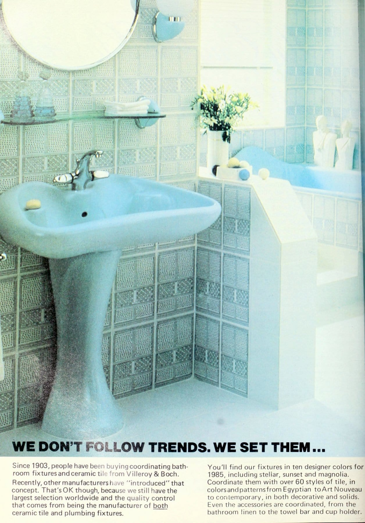 Vintage 1980s Frozen blue bathroom suite and tile by Villeroy and Boch (1)