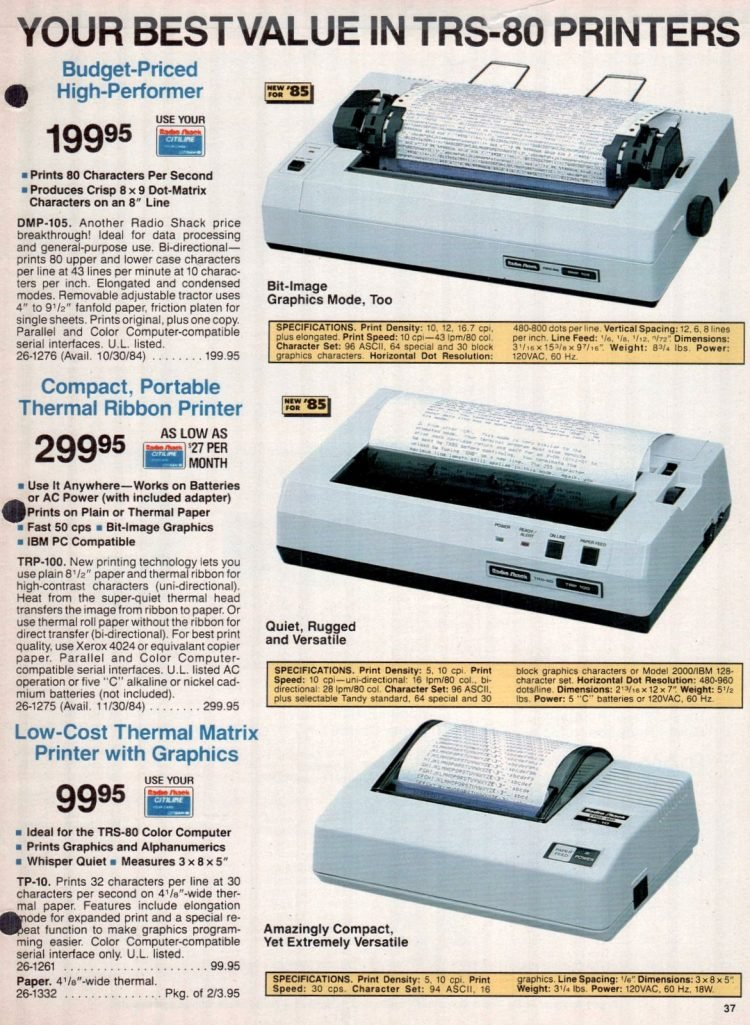 Vintage 1980s Radio Shack TRS-80 printer catalog (1)