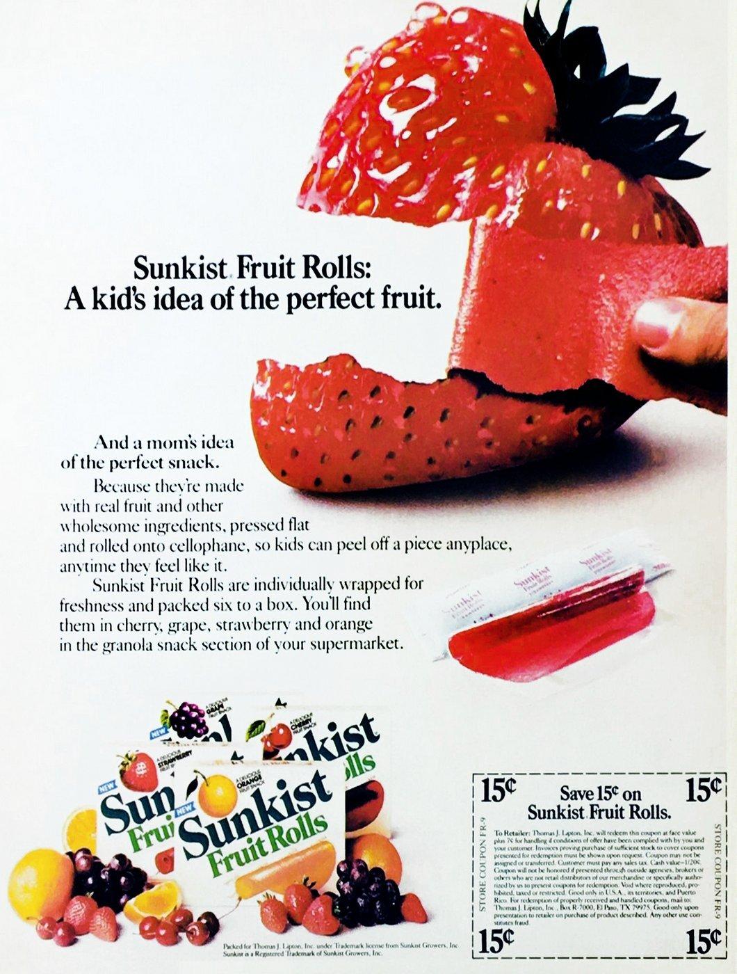 Vintage 1980s Sunkist Fruit Rolls (1984)