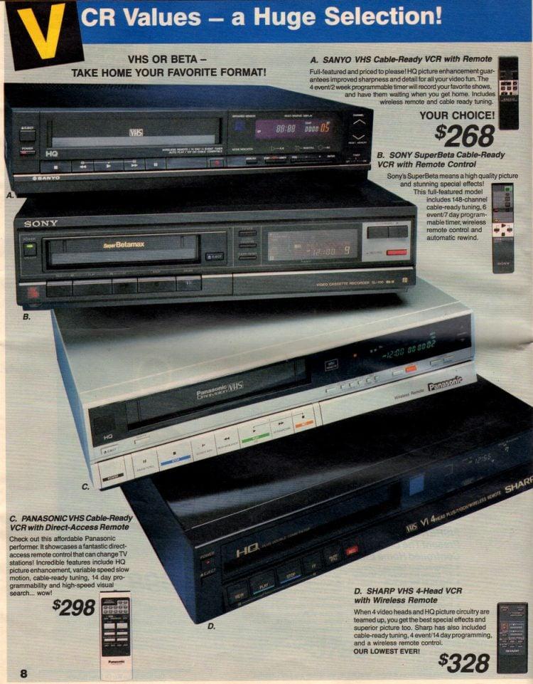 Vintage 1980s VCRs from NEC, Hitachi, Mitsubishi, Sharp, Panasonic, Sony, Sanyo (1)