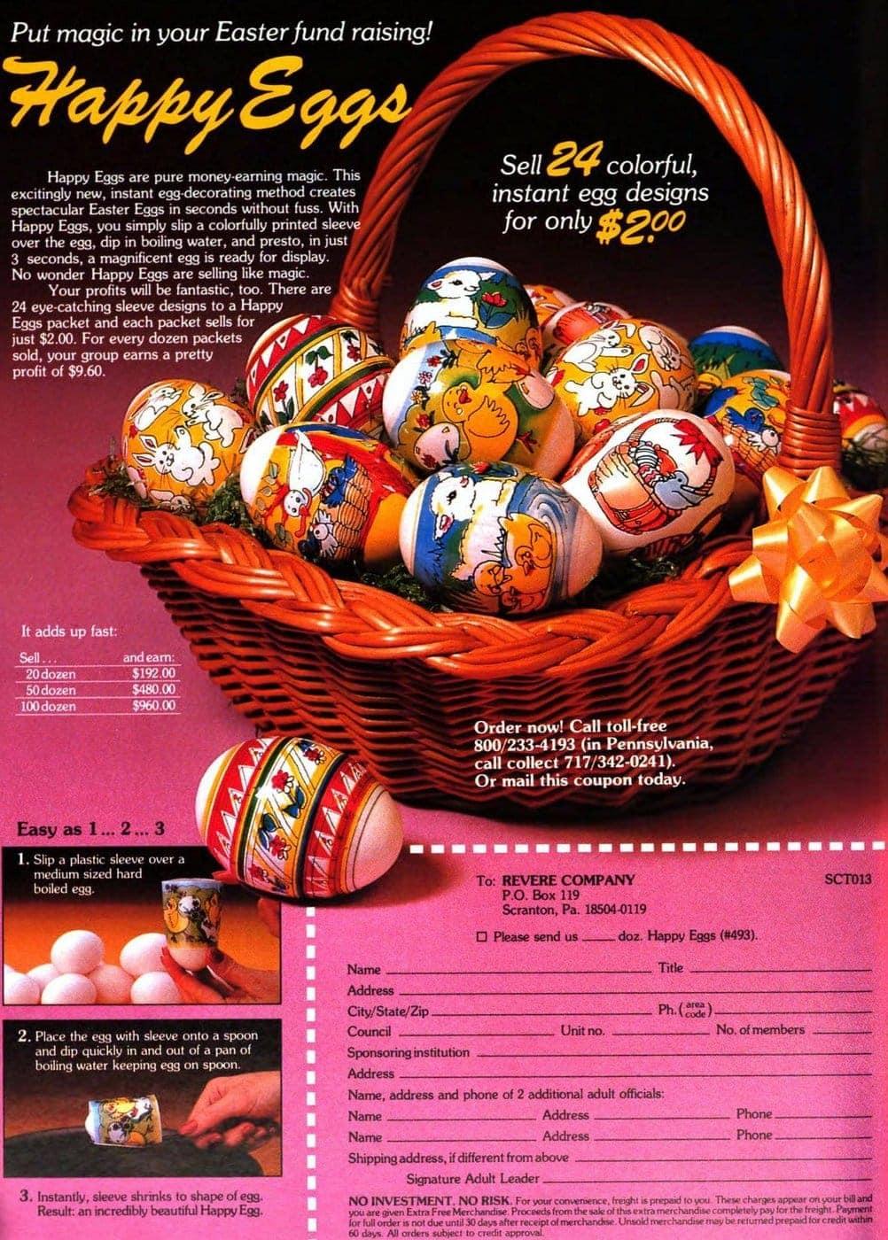Vintage 1983 Happy Eggs - decorating shrink plastic sleeves