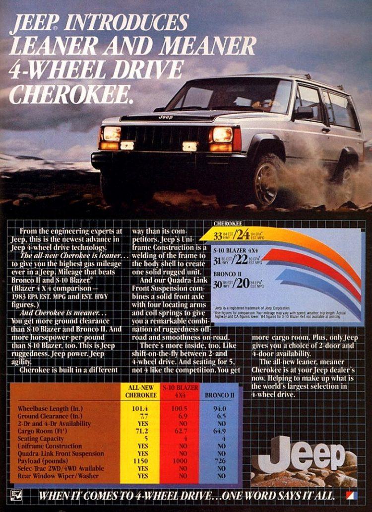 Vintage 1984 Jeep Cherokee ad