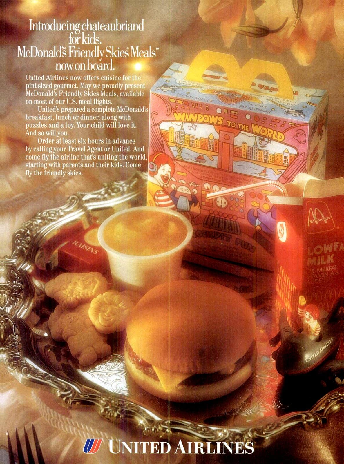 Vintage 1993 McDonalds Happy meals on United Airlines