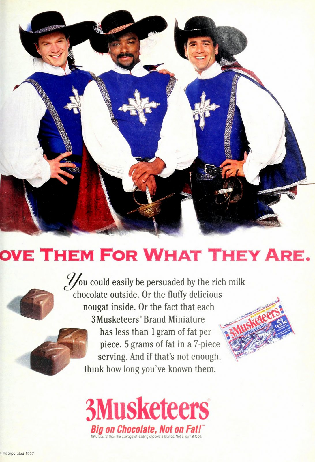 Vintage 3 Musketeers chocolate mini candy bars (1996)