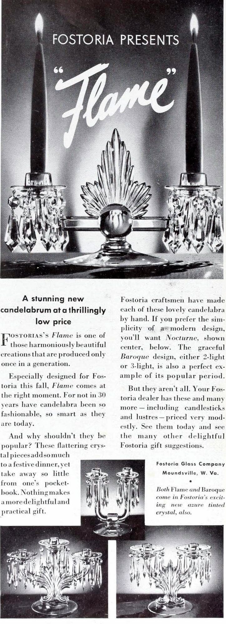 Vintage 30s Fostoria crystal candleholders