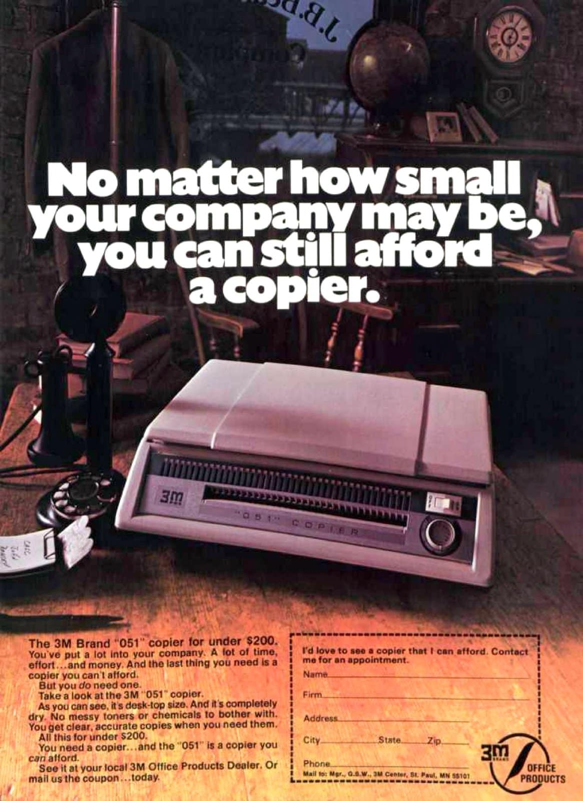 Vintage 3M business desktop photocopier from 1975