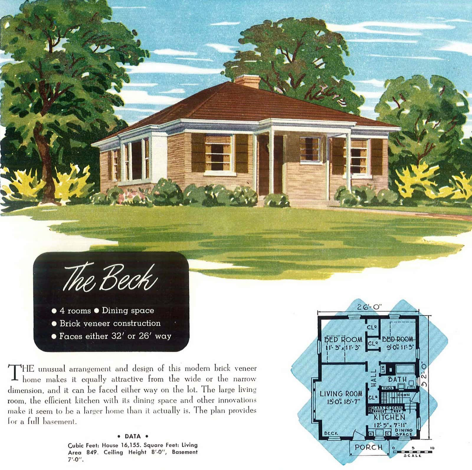 Vintage 40s post-war starter home designs from 1949 (2)