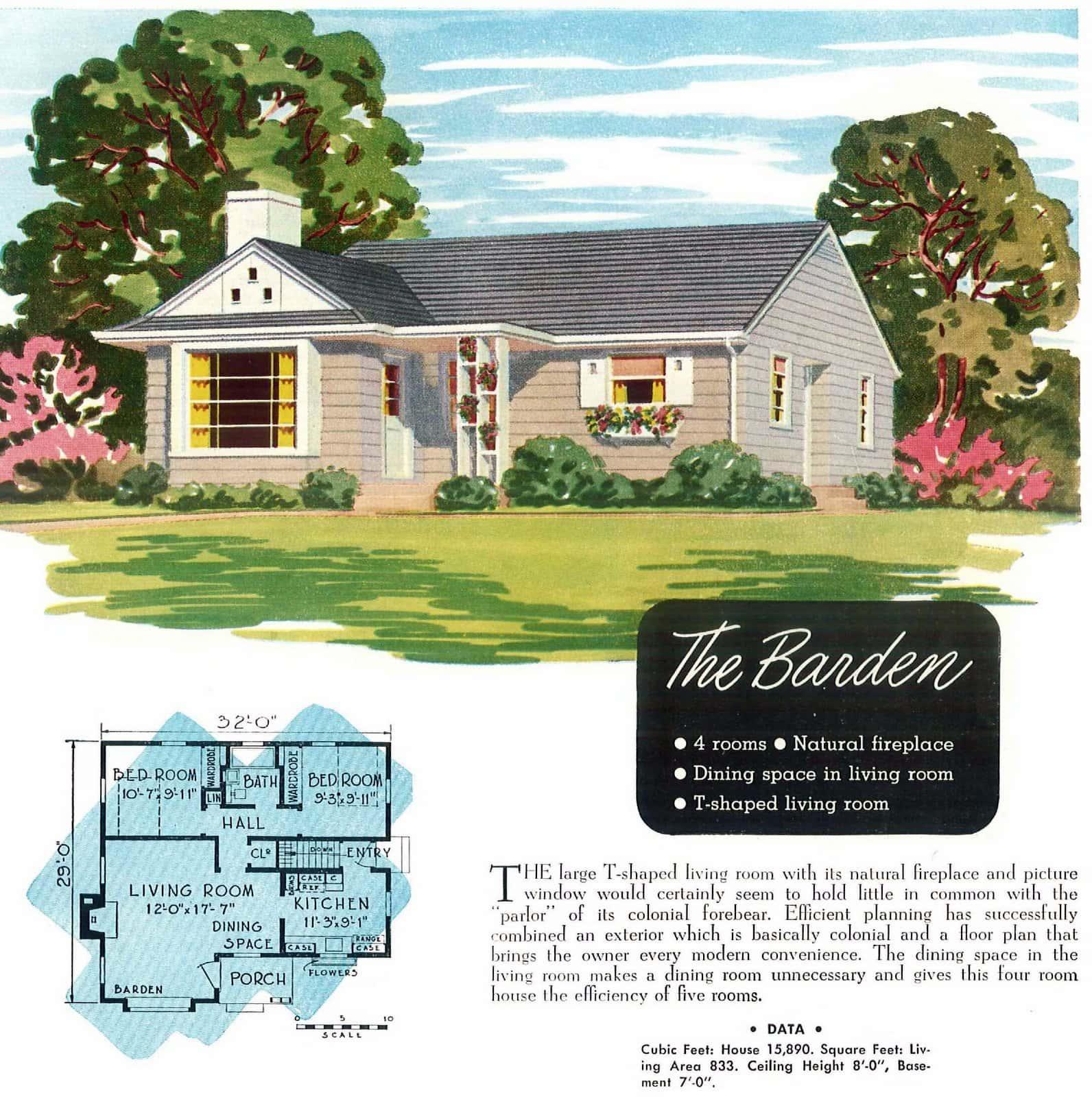 Vintage 40s post-war starter home designs from 1949 (3)
