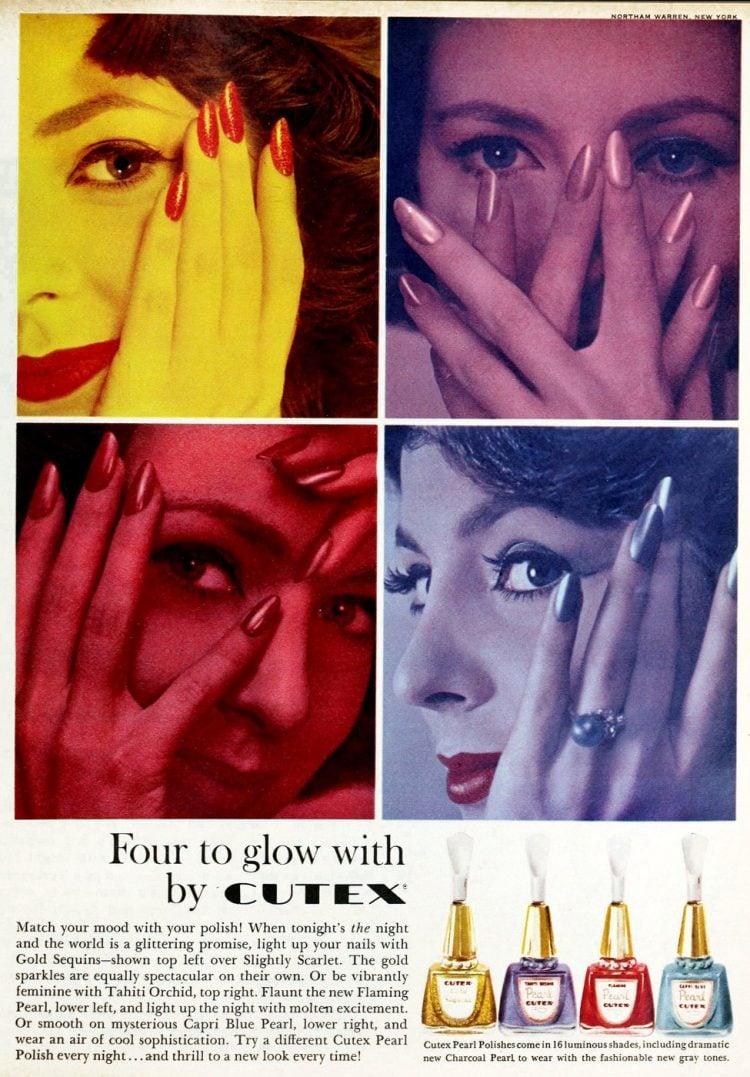 Vintage 50s Cutex glow nail polish creative colors 1958