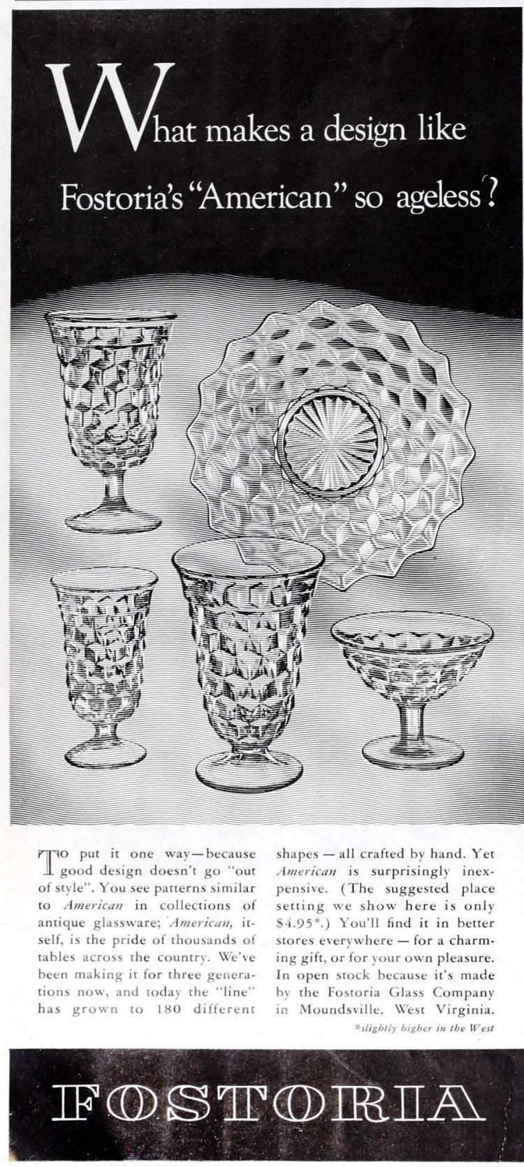 Vintage 50s Fostoria American pattern glassware from 1954