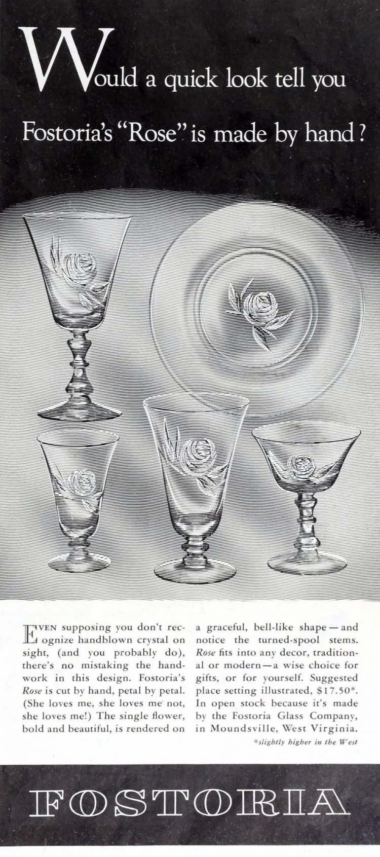 Vintage 50s Fostoria Rose pattern glass (1954)