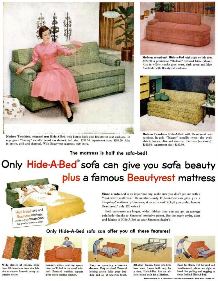 Vintage 50s Hide-a-Bed couch-sofa from 1954