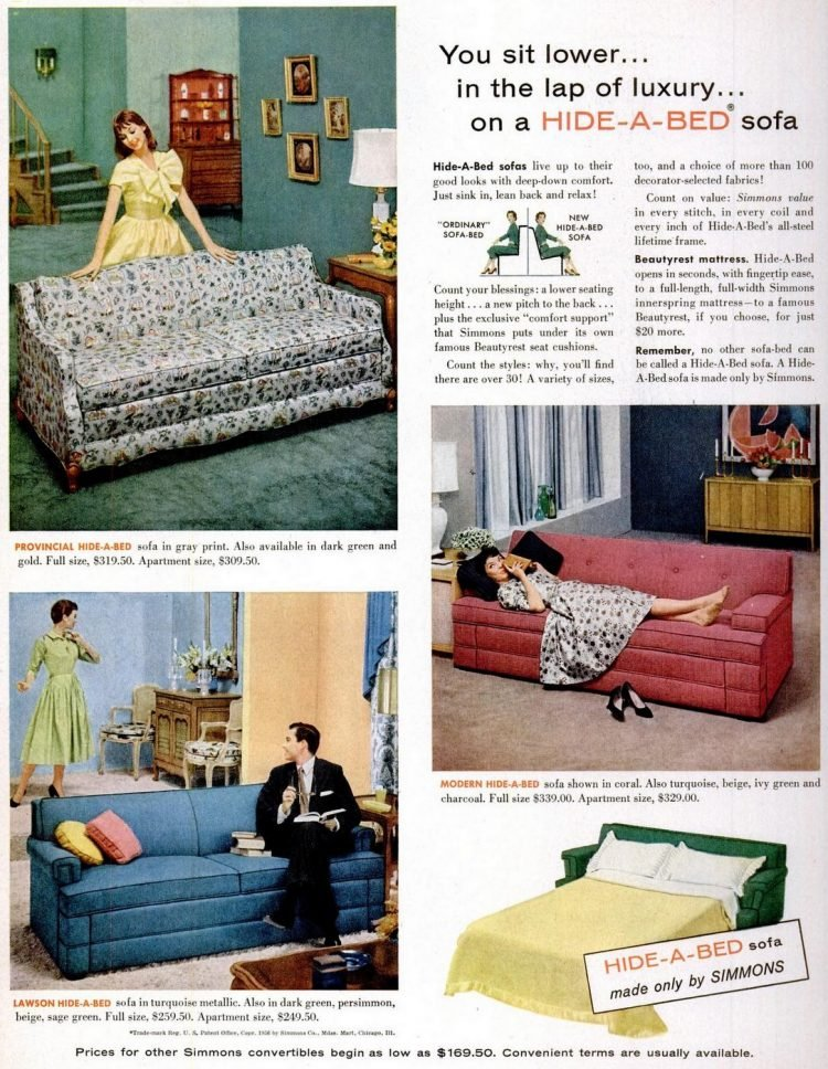 Vintage 50s Hide-a-Bed sofa-couch from 1956