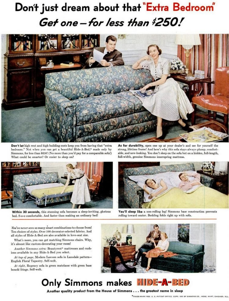 Vintage 50s Hide-a-Bed sofa from 1951
