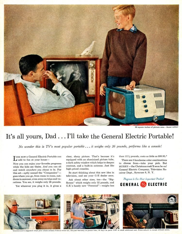 Vintage 50s TVs - GE Portable televisions