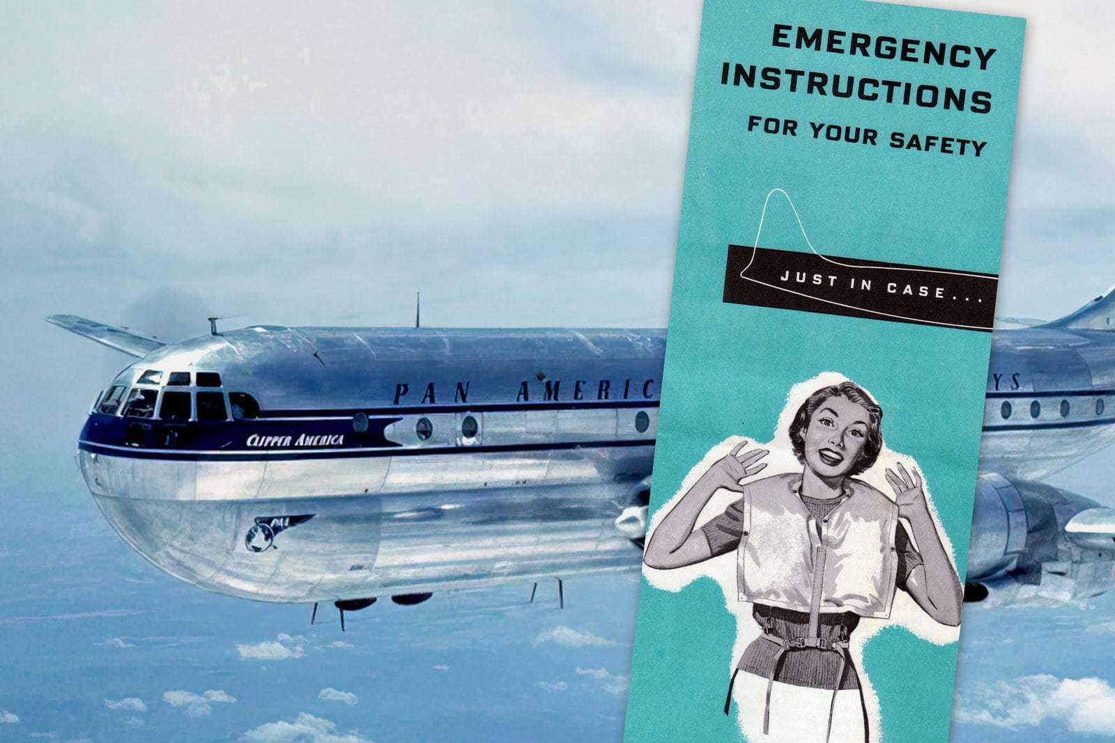 Vintage '50s airplane safety card for a Boeing 377 Stratocruiser