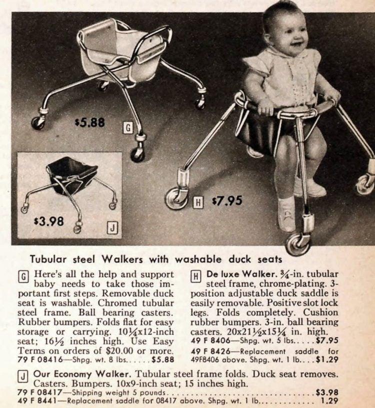 Vintage 50s baby walkers on wheels