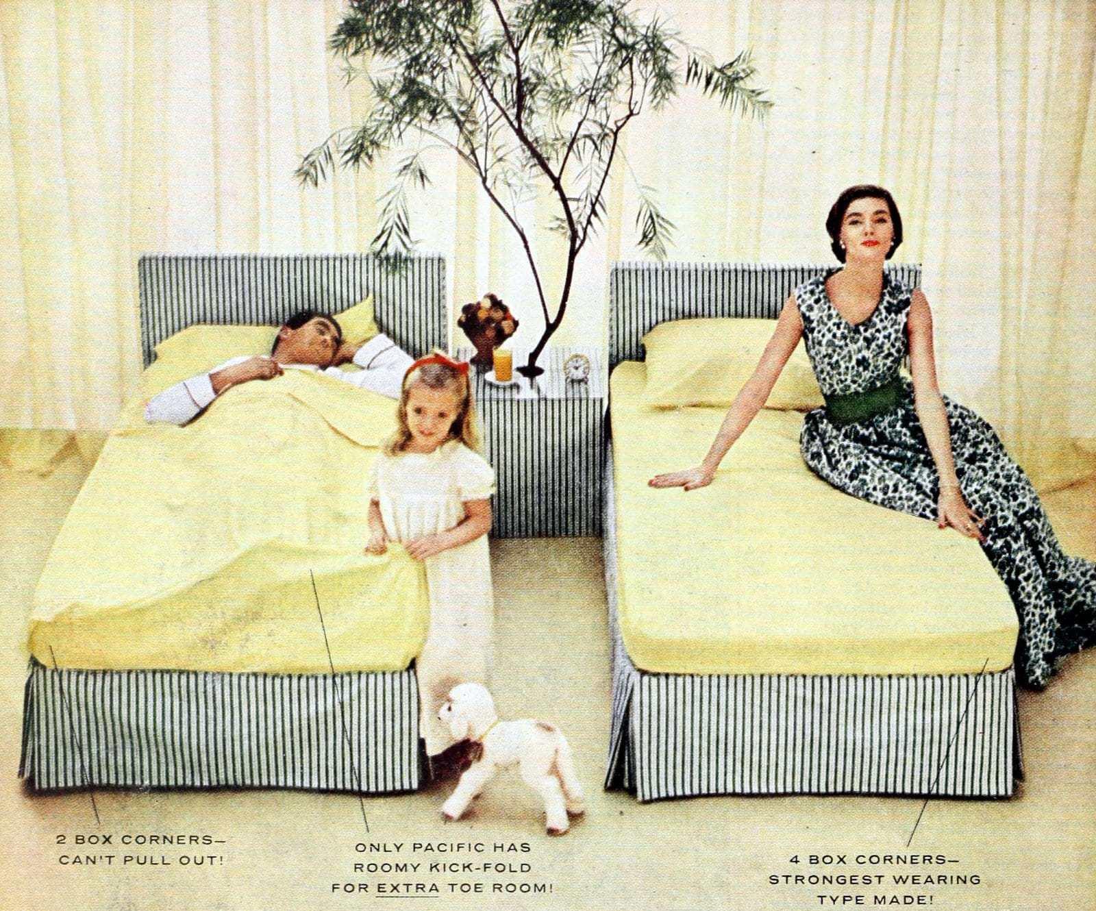 Vintage 50s bedroom decor in yellow (4)