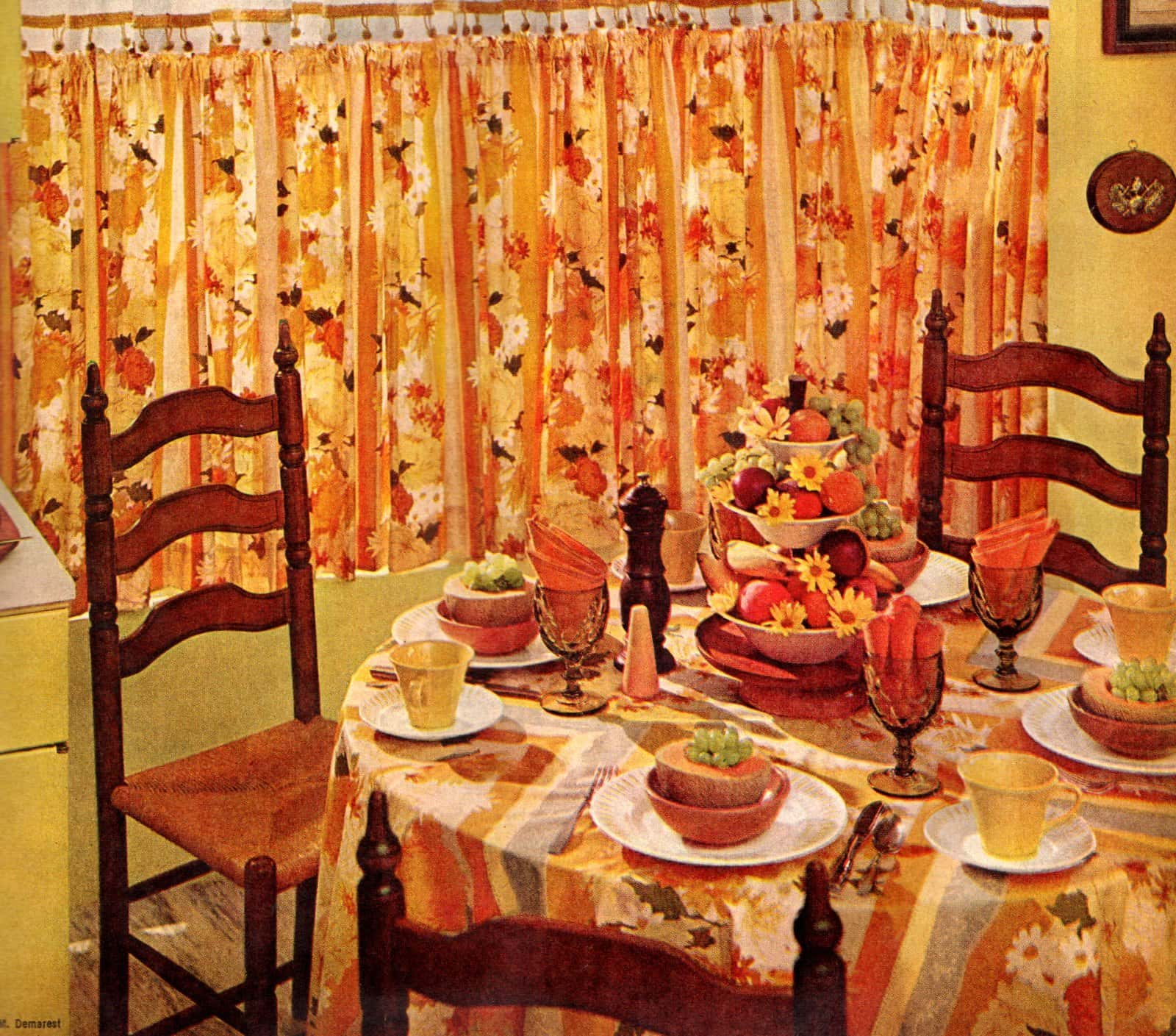 Vintage 50s dining nook in orange and yellow