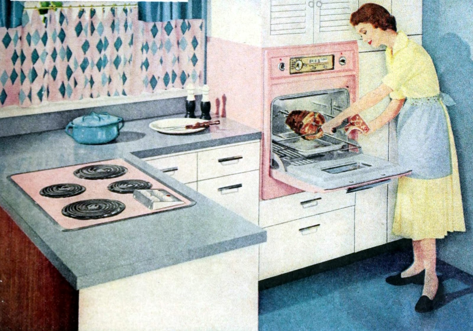 Vintage 50s kitchen with blue decor and pink appliances (1958)