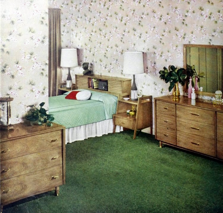 Vintage 50s master bedroom with green carpet and wood dressers