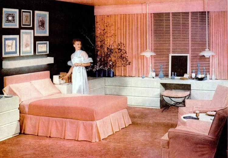 Vintage 50s master bedroom with pink and white decor