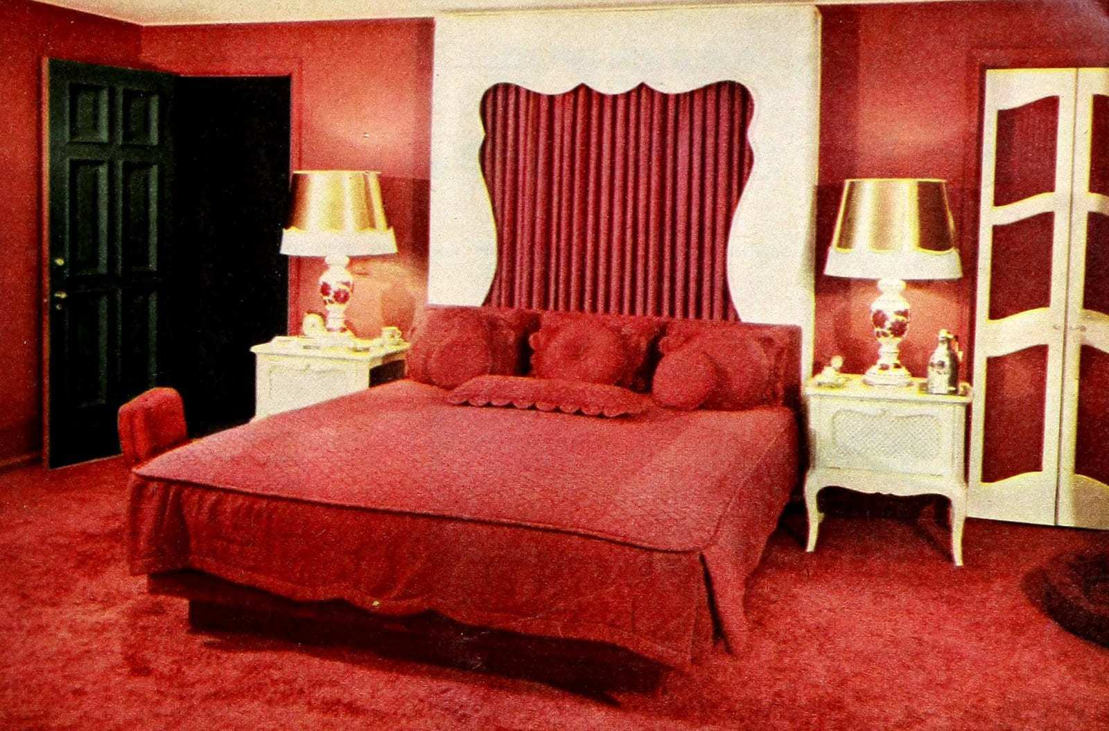 Vintage 50s master bedroom with red decor