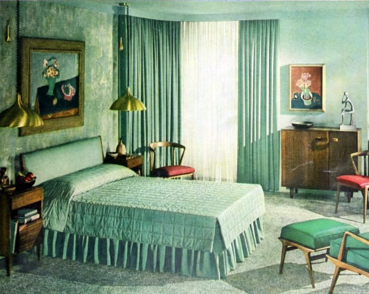 Vintage 50s master bedroom with shades of green