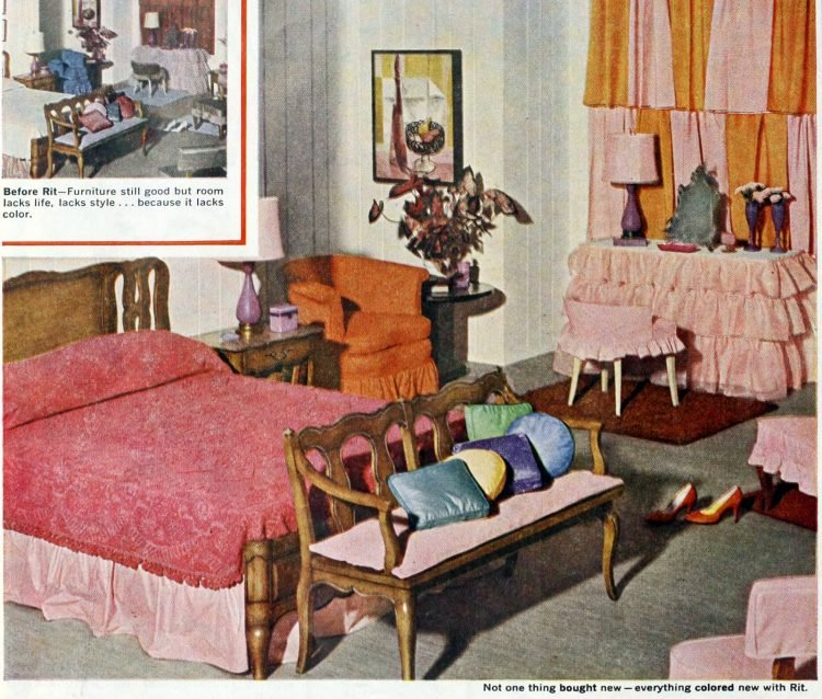 Vintage 50s master bedroom with warm colors
