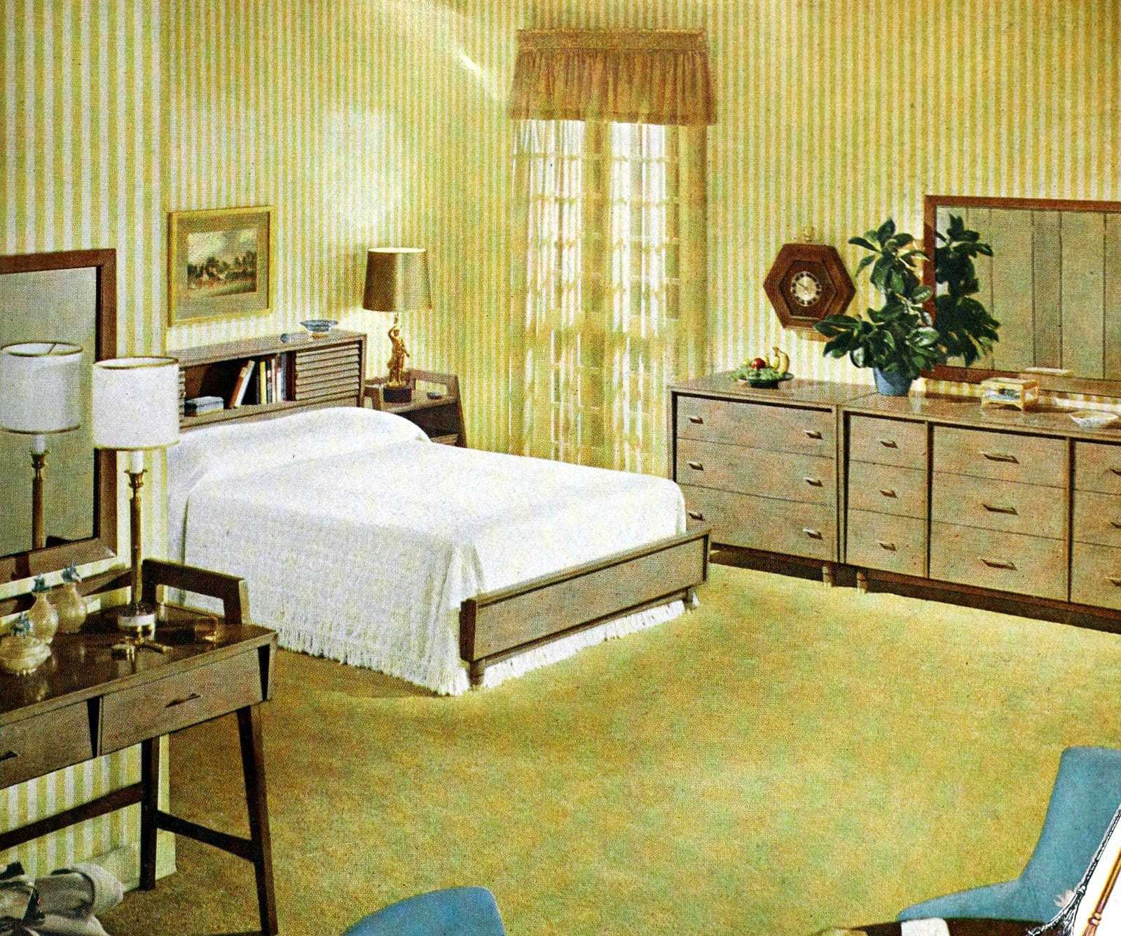 Vintage 50s master bedroom with yellow decor and white bedspread