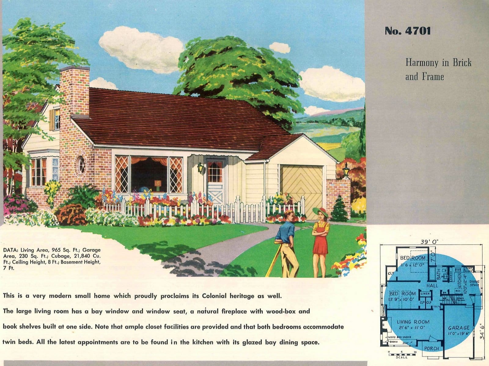 Vintage 50s small starter home designs from 1950 (10)