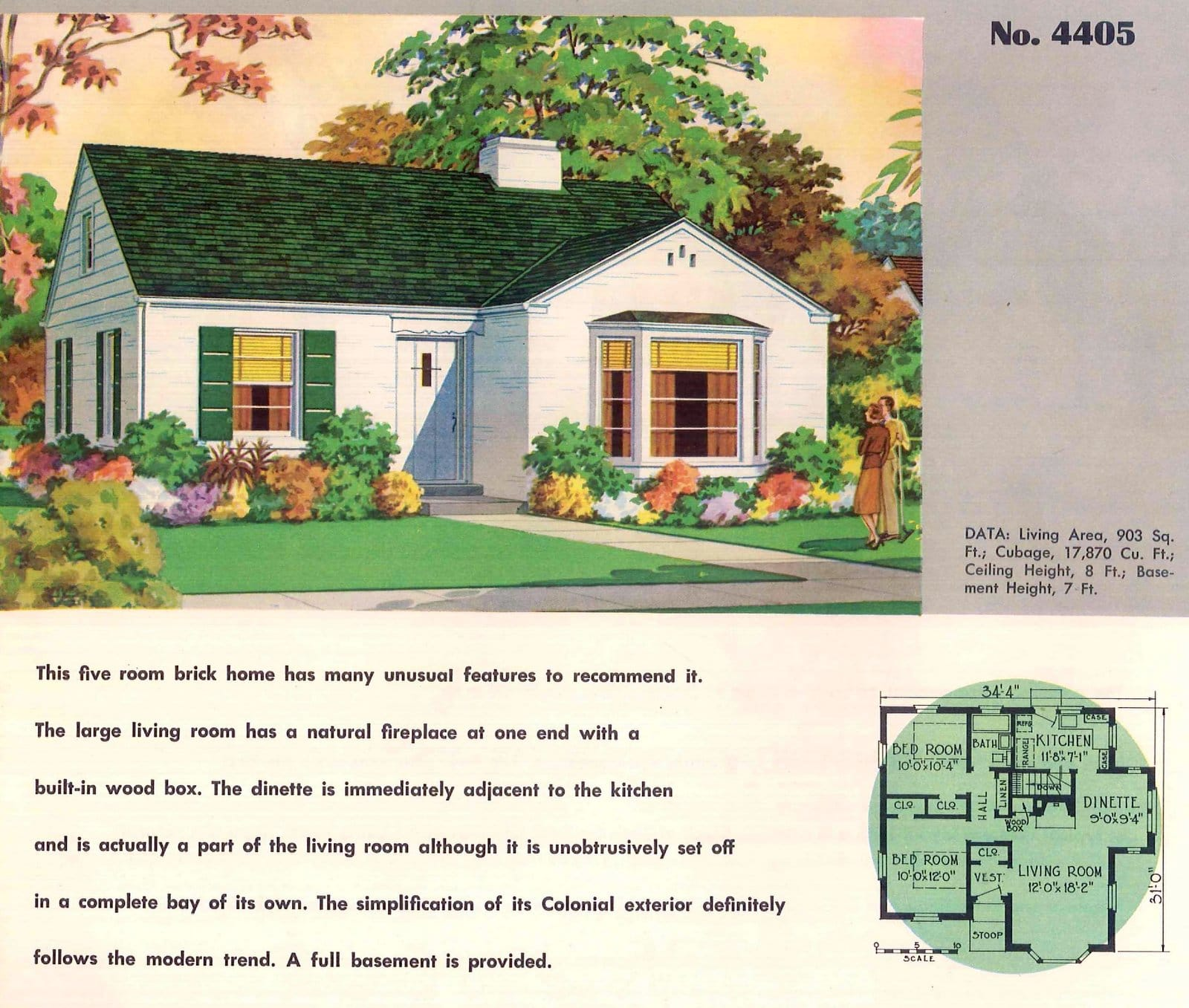 Vintage 50s small starter home designs from 1950 (12)