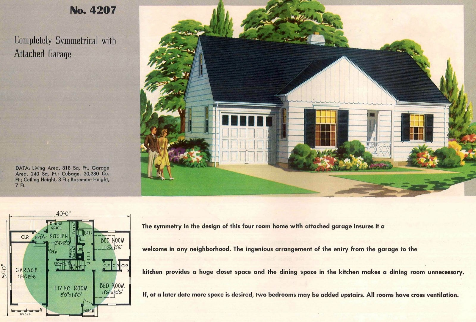 Vintage 50s small starter home designs from 1950 (13)