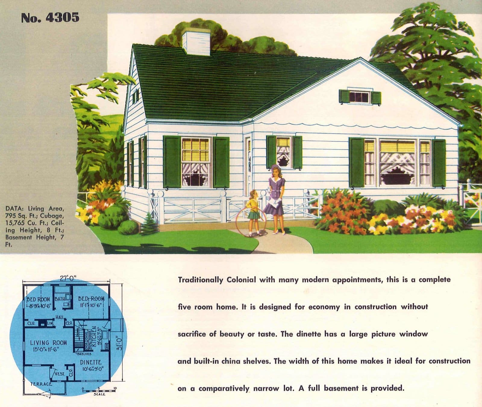 Vintage 50s small starter home designs from 1950 (15)