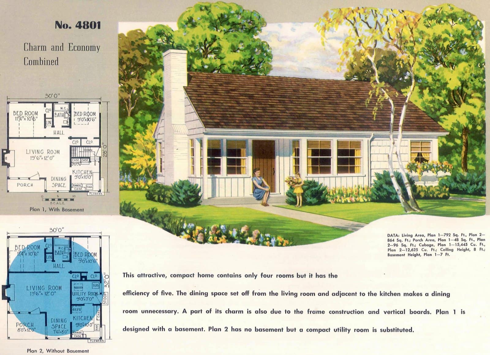 Vintage 50s small starter home designs from 1950 (2)