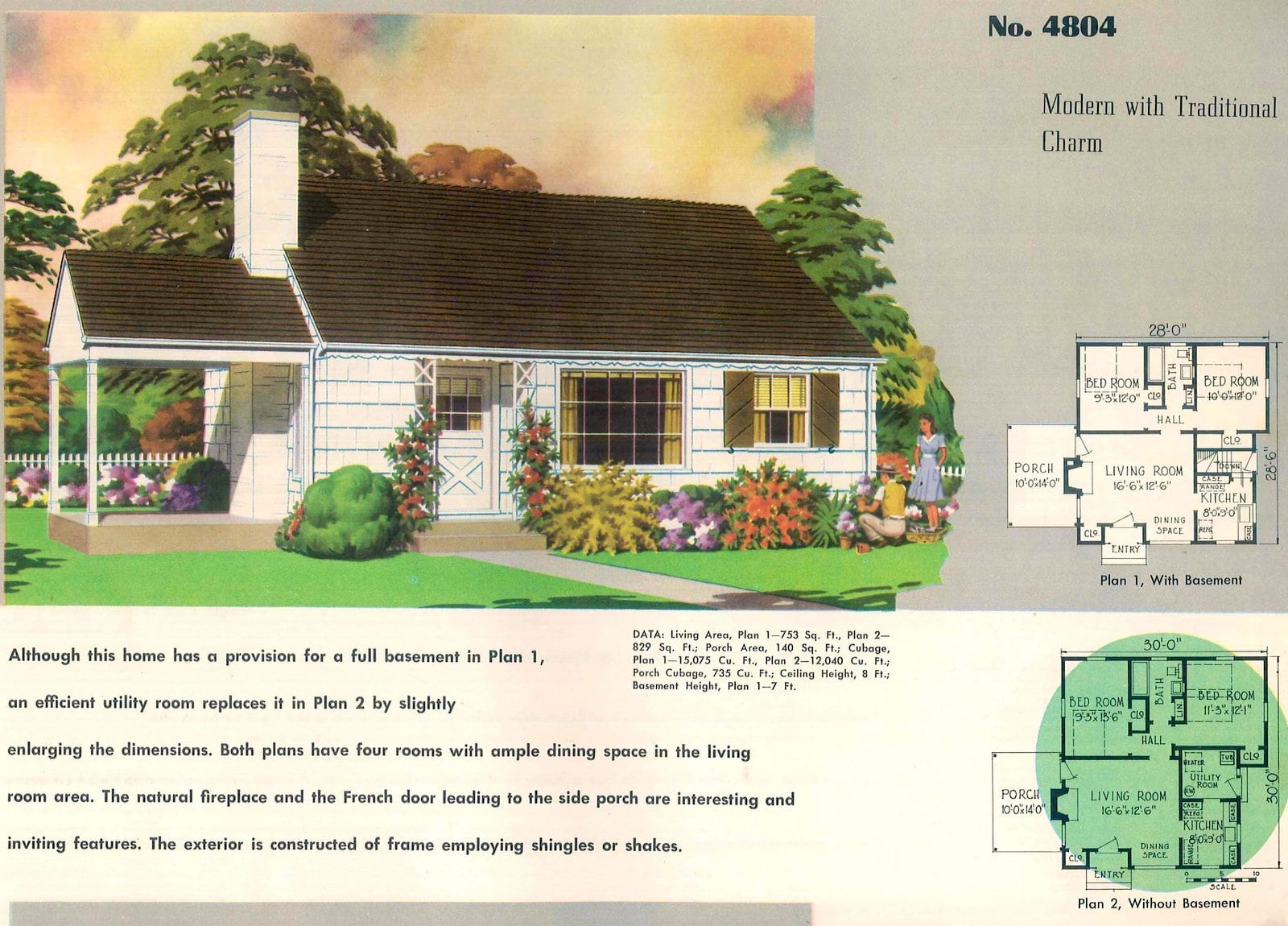 Vintage 50s small starter home designs from 1950 (4)