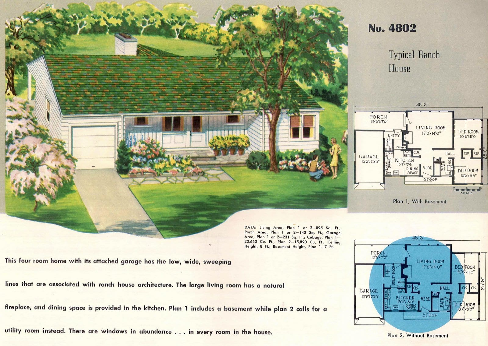 Vintage 50s small starter home designs from 1950 (7)