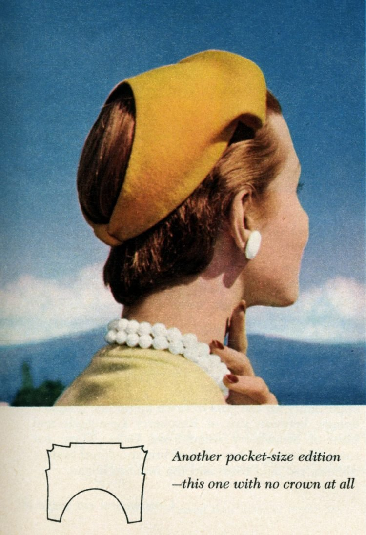 Vintage 50s-style hats to sew - Another pocket-size edition -- this one with no crown at all