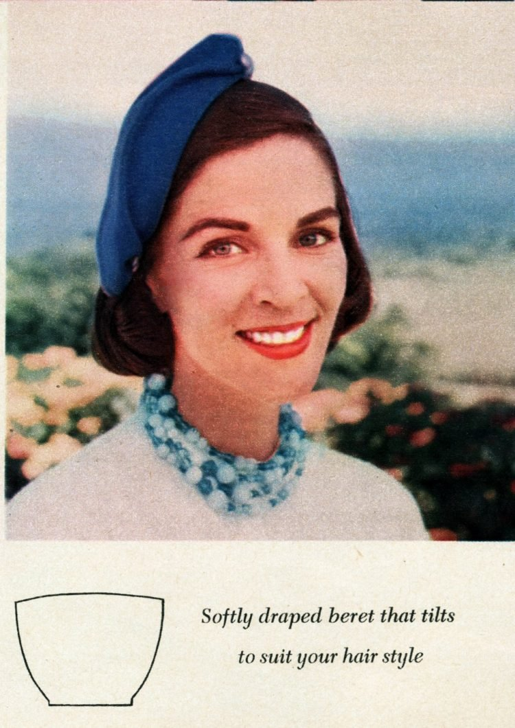 Vintage 50s-style hats to sew - Softly draped beret that tilts